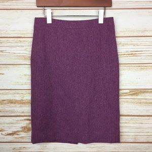 J. Crew Purple Wool No. 2 Pencil Skirt